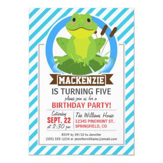 "Green Frog on Lilypad; Blue & White Stripes 5"" X 7"" Invitation Card"