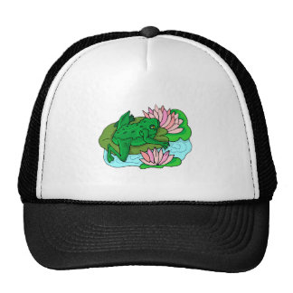 Green Frog On Lilypad Mesh Hats