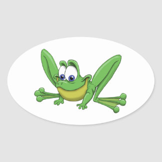 GREEN FROG OVAL STICKER