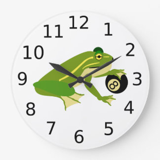 Green Frog Palming an Eight Ball Large Clock