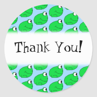 Green Frog Pattern. Thank You. Classic Round Sticker