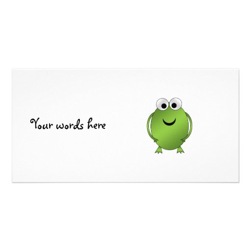 Green frog photo card template
