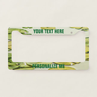 Green Frog Pond Lily Pad Photograph License Plate Frame