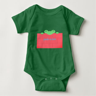 Green frog red wall baby animal bodysuit