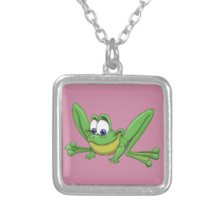GREEN FROG SILVER PLATED NECKLACE
