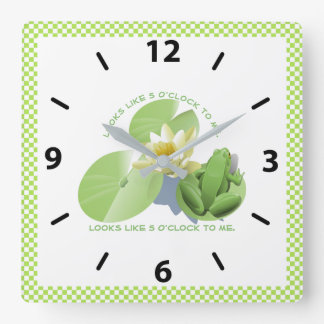 Green Frog Sitting on Lily Pad: looks like 5 to me Square Wall Clock