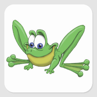 GREEN FROG SQUARE STICKER