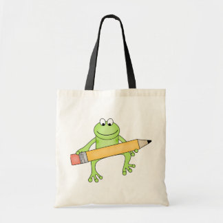 Green Frog with Pencil Tshirts and Gifts Tote Bag