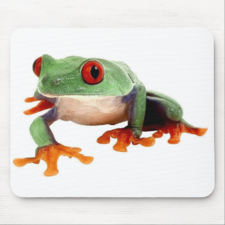green frog with red eyes mouse pad