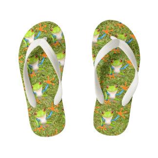 Green frogs kid's flip flops
