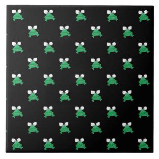 Green Frogs on Black Ceramic Tile