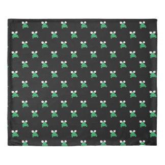 Green Frogs on Black Duvet Cover