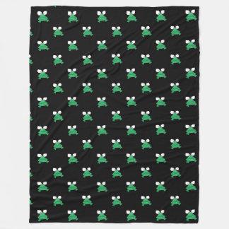 Green Frogs on Black Fleece Blanket