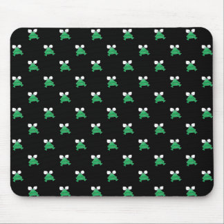 Green Frogs on Black Mouse Pad