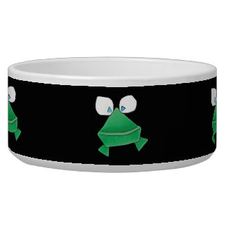 Green Frogs on Black Pet Bowl