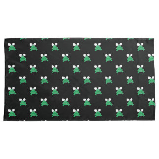 Green Frogs on Black Pillow Cases