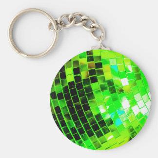 Green Funky Disco Ball Basic Round Button Keychain