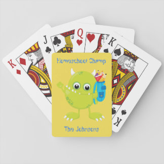 Green Funny Looking Monster Playing Cards