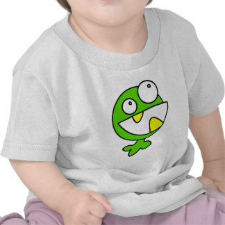 Green funny monster animated creature t-shirts