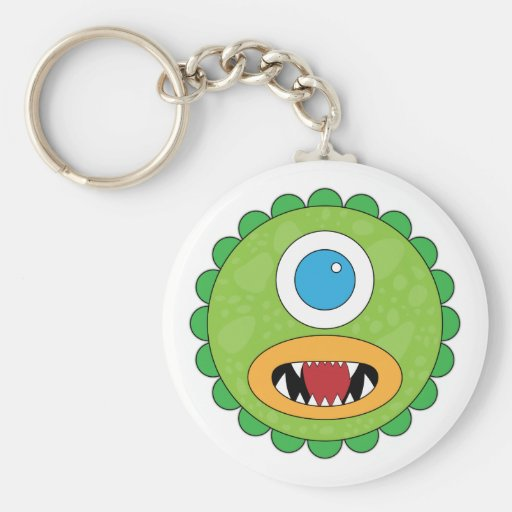 Green funny monster key chain