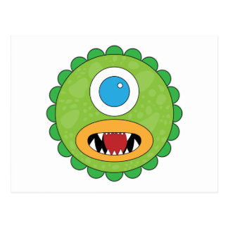 Green funny monster postcard