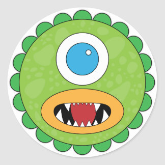 Green funny monster round stickers