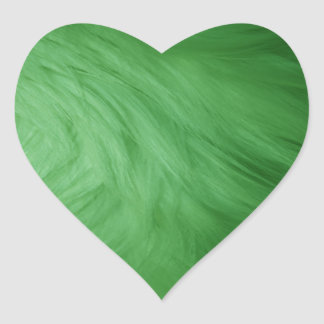 Green Fur Print Heart Sticker