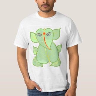Green Ganesha Motif White T-Shirt