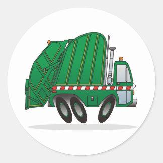 Green Garbage Truck Classic Round Sticker
