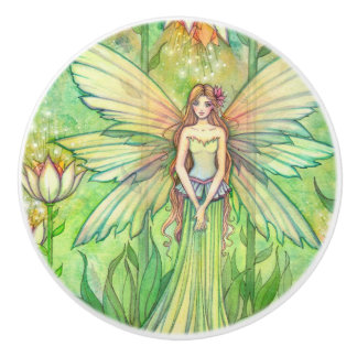 Green Garden Flower Fairy Illustration Ceramic Knob