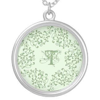 Green Garland Initial Necklace