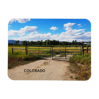green gate by a Colorado prairie Magnet