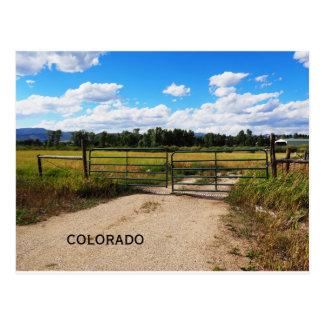 green gate by a Colorado prairie Postcard
