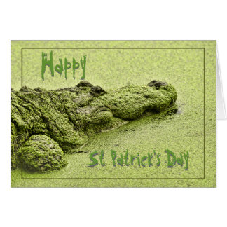 """Green Gator - """"Happy St Patrick's Day"""" Note Card"""