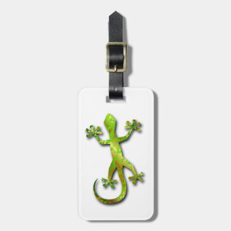 Green Gecko with Gold Pattern Luggage Tag