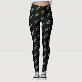 Green Geckos on Black Leggings