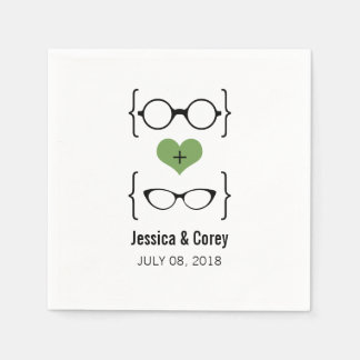 Green Geeky Glasses Paper Napkins