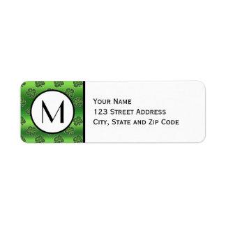 Green Gem Shamrock Pattern Return Address Label