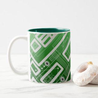 Green Geometric Circuit Board Two-Tone Coffee Mug