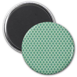 Green Geometric Pattern 2 Inch Round Magnet