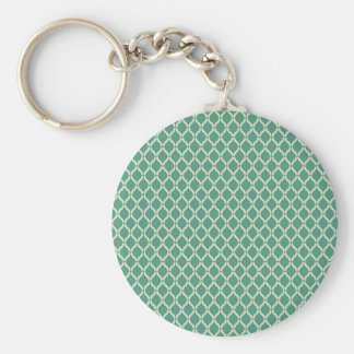 Green Geometric Pattern Basic Round Button Keychain
