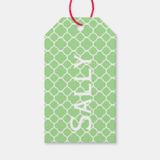 Green Geometric Pattern Personnalised Gift Tags