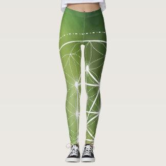 Green geometric print leggings