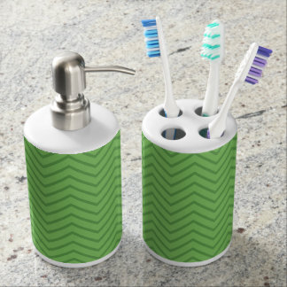 Green geometric zig zag bathroom set