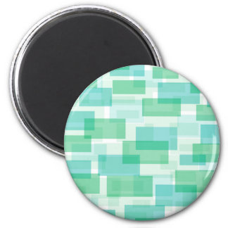 Green geometrical squares pattern 2 inch round magnet