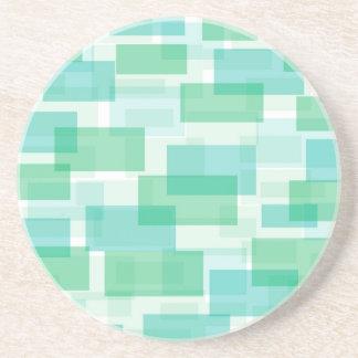 Green geometrical squares pattern beverage coaster