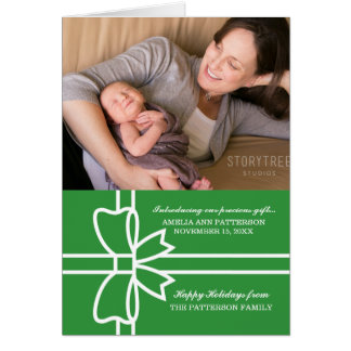 Green Gifted Holiday Photo Greeting Card