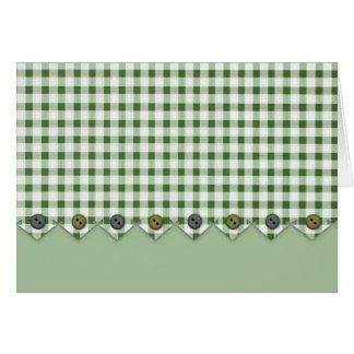 Green Gingham and Buttons Note Card