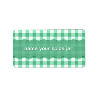 Green Gingham Checkered Design Kitchen Label