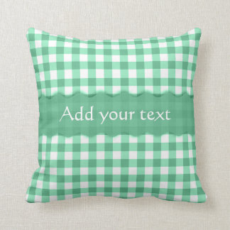 Green Gingham Checkered  Pattern Personalized Throw Pillows
